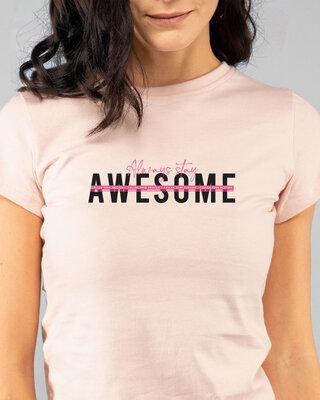 Shop Awesomeness Alert Half Sleeve Printed T-Shirt Seashell Pink-Front