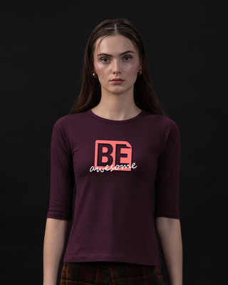 Shop Awesomeness Round Neck 3/4th Sleeve T-Shirt-Front