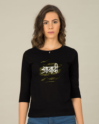 Shop Azaadi Round Neck 3/4th Sleeve T-Shirt-Front