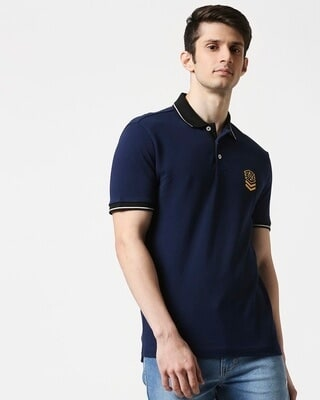 Shop B12 Baleine Blue Half Sleeve Tipping polo-Front