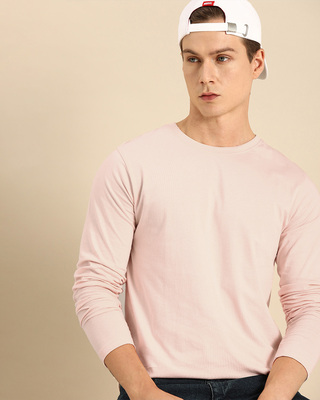 Shop Baby Pink Full Sleeve T-Shirt-Front