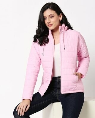Shop Baby Pink Plain Puffer Jacket with Detachable Hood-Front