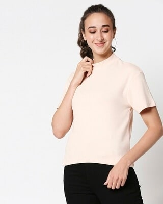 Shop Baby Pink Turtle Neck Rib T-Shirt-Front