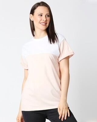 Shop Baby Pink-White Color Block Boyfriend T-Shirt-Front