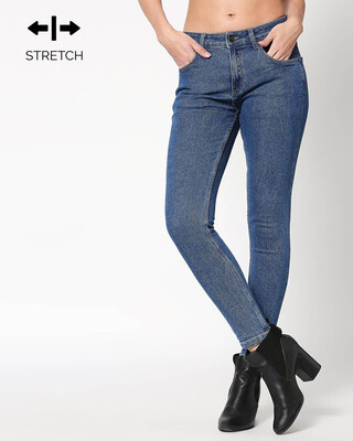 Shop Backpack Blue Mid Rise Stretchable Women's Jeans-Front
