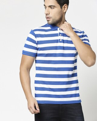 Shop Baleine Blue & White Half Sleeve Stripes Polo-Front