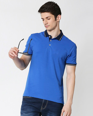 Shop Baleine Blue Half Sleeve Tipping polo-Front