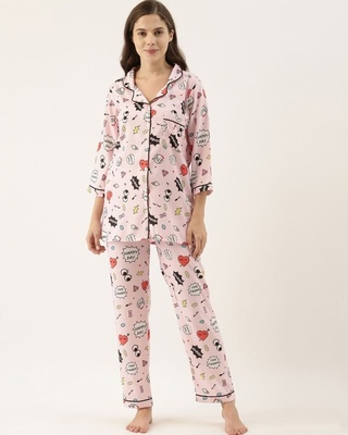 Shop Bannosswagger Women Light Pink Printed Night Suit-Front