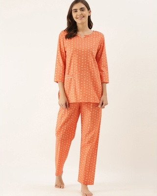 Shop Bannosswagger Women Peach printed Night Suit-Front