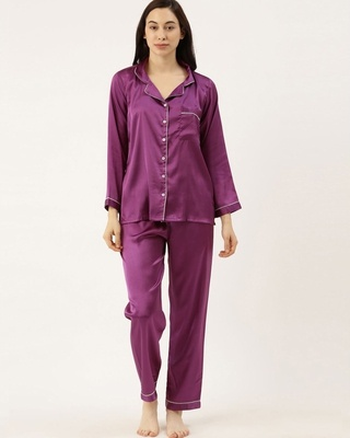 Shop Bannosswagger Women Purple Solid Satin Night Suit-Front