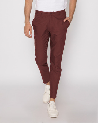 Shop Barn Red Lightweight Slim Oxford Pants-Front