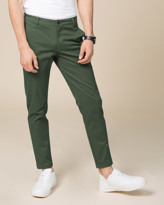 Shop Basil Green Slim Fit Cotton Chino Pants-Front