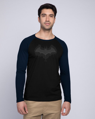 Shop Bat Drip Full Sleeve Raglan T-Shirt (BML) Navy Blue-Black-Front