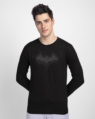 Shop Bat Drip Full Sleeve T-Shirt (BML) Black-Front