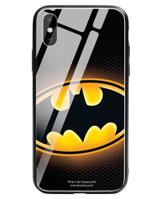 Shop Bat Logo iPhone XS Glass Mobile Cover (BML)-Front