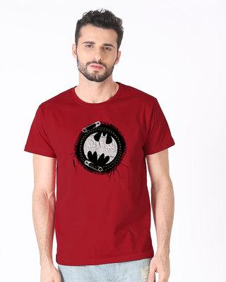 Shop Batman Applique Half Sleeve T-Shirt (BML)-Front