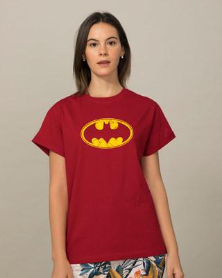 Shop Batman Classic Logo Boyfriend T-Shirt (BML)-Front
