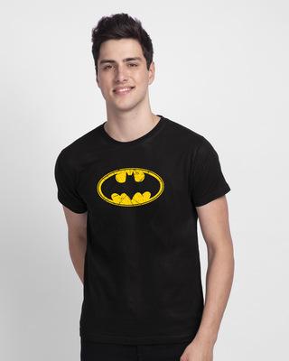 Shop Batman Classic Logo Half Sleeve T-Shirt (BML)-Front