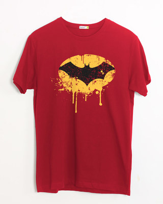 Shop Batman Dripping Half Sleeve T-Shirt (BML)-Front