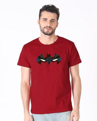 Shop Batman Eyes Logo Half Sleeve T-Shirt (BL)-Front