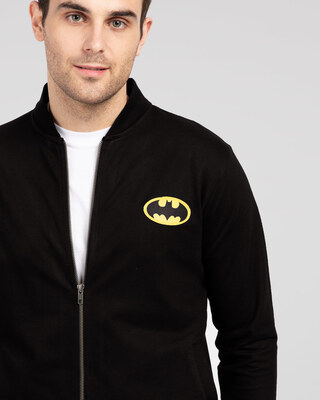 Shop Batman Logo Badge Zipper Bomber Jacket-Front