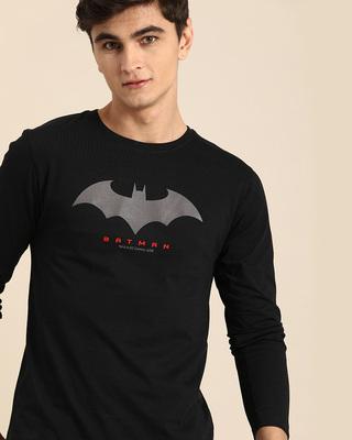 Shop Batman Outline Logo Full Sleeve T-Shirt (BML) Black-Front