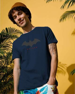 Shop Batman Outline Logo Half Sleeve T-Shirt (BML) Navy Blue-Front