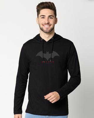 Shop Batman Outline Logo Full Sleeve Hoodie T-Shirt-Front