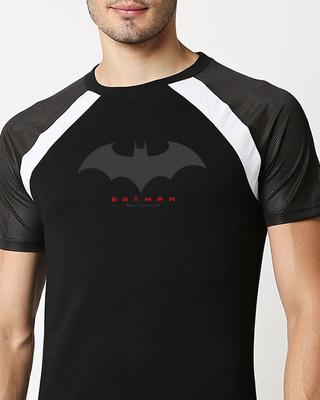 Shop Batman Outline Logo Mesh Raglan T-Shirt-Front