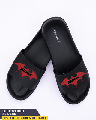 Shop Batman Red Symbol Men's Printed Sliders-Front