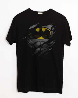 Shop Batman Torn Half Sleeve T-Shirt (BML)-Front