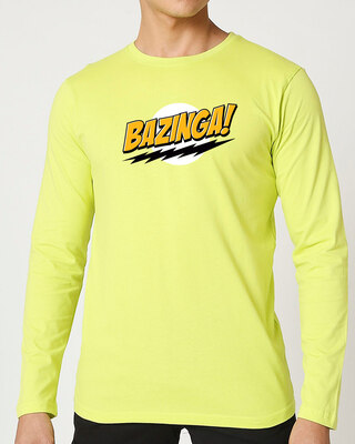 Shop Bazinga Sheldon Full Sleeve T-Shirt Neo Mint-Front