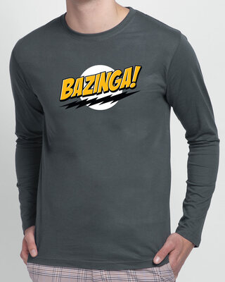 Shop Bazinga Sheldon Full Sleeve T-Shirt Nimbus Grey-Front