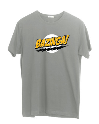 Shop Bazinga Sheldon Half Sleeve T-Shirt Meteor Grey-Front