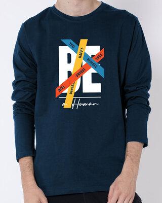 Shop Be A Human Full Sleeve T-Shirt Navy Blue-Front