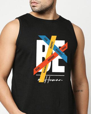 Shop Be A Human Round Neck Vest Black-Front