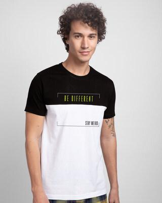 Shop Be-different-panel Color Block T-Shirt-Front