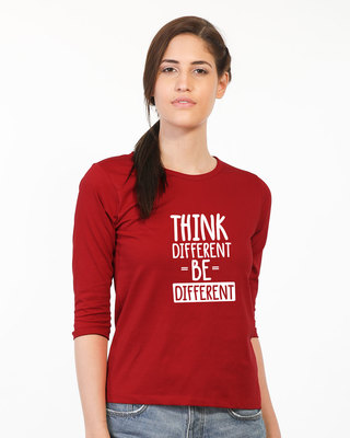 Shop Be Different Round Neck 3/4th Sleeve T-Shirt-Front