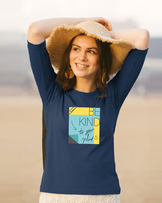 Shop Be Kind Colorblock Round Neck 3/4 Sleeve T-Shirts Navy Blue-Front