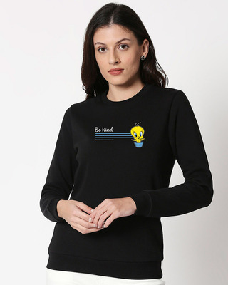 Shop Be Kind Tweety Fleece Sweater (LTL)-Front