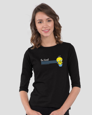 Shop Be Kind Tweety Round Neck 3/4th Sleeve T-Shirt (LTL)-Front
