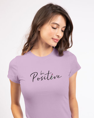 Shop Be Positive Lipstick Half Sleeve T-shirt-Front
