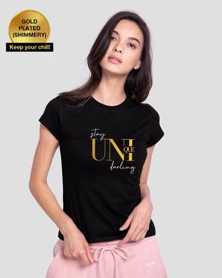 Shop Be Unique Gold Half Sleeve T-Shirt-Front