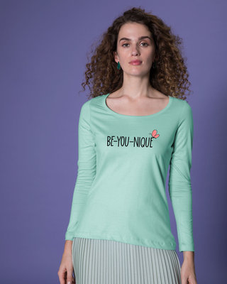 Shop Be-you-nique Scoop Neck Full Sleeve T-Shirt-Front