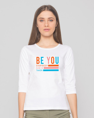 Shop Be You Stripes Round Neck 3/4 Sleeve T-Shirts White-Front