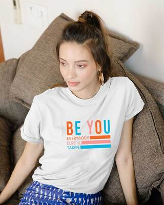 Shop Be You Stripes Stripes Boyfriend T-Shirts White-Front