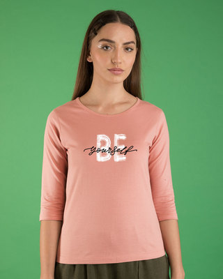 Shop Be Yourself Round Neck 3/4th Sleeve T-Shirt-Front