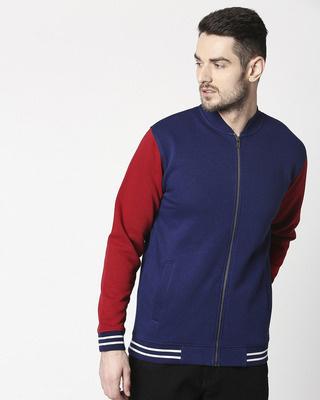 Shop Beacon Blue Varsity Bomber Jacket-Front