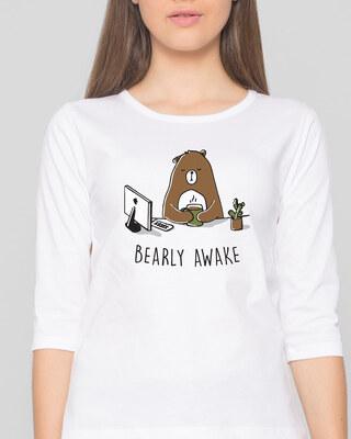 Shop Bearly Awake Round Neck 3/4 Sleeve T-Shirts White  -Front