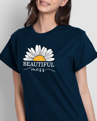 Shop Beautiful Mess Flower Boyfriend T-Shirts Navy Blue-Front